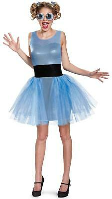 Bubbles Powerpuff Girls Cartoon Fancy Dress Up Halloween Deluxe Adult Costume