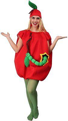 Wurm Kostüm (Kostüm Apfel Appel Wurm Erwachsene Frucht Overall Obst Cosplay Karneval Fasching)