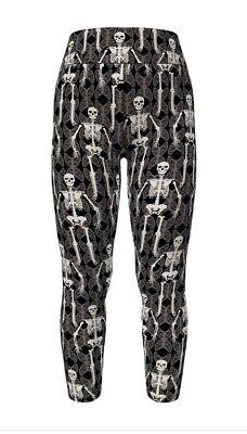 LulaRoe OS Halloween 2020 Skeletons Leggings - Black Background - NWT