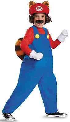 Mario Raccoon Nintendo Super Brothers Fancy Dress Halloween Deluxe Child Costume