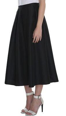 [Tibi] Simona Black Pleated Silk Full Skirt Flare A-Line Size US8 $650 / New