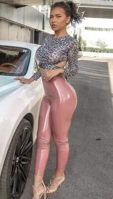 Womens Ladies Skinny High Waisted Shiny Wet Look PVC Vinyl Disco Leggings 6-14