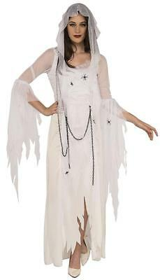 Halloween White Ghost Costume (Ghostly Spirit White Ghost Dead Scary Fancy Dress Up Halloween Adult)