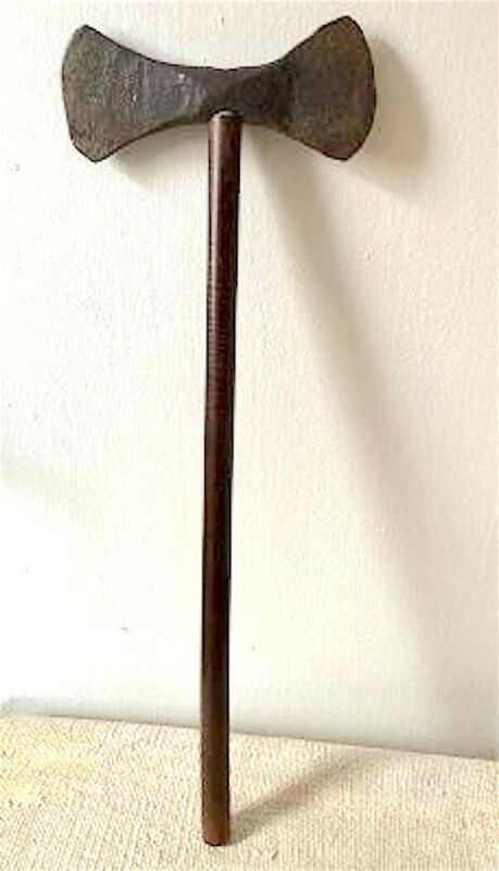 Ca. 1820-1840 NATIVE AMERICAN DOUBLE-BIT FORGED IRON THROWING-DESIGN TOMAHAWK
