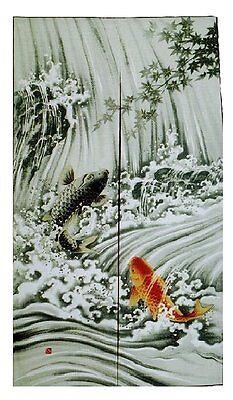 JAPANESE Noren Curtain NEW KOI FISH  MADE IN JAPAN (Noren Koi)
