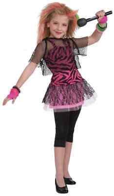 Punk Star 80's Retro Rock Pop Pink Zebra Fancy Dress Up Halloween Child - 80 Dress Up