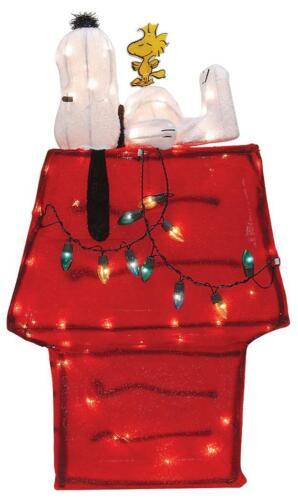 "New Christmas Peanuts 32"" Snoopy & Woodstock on Dog House Tinsel Art Yard Decor"