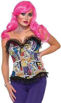 Pop Art Comic Printed Corset 50's Fancy Dress Halloween Adult Costume Accessory