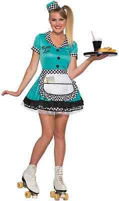 Betty Lou 50's Car Hop Soda Shop Diner Waitress Sock Halloween Adult - Soda Halloween Costumes