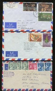 THAILAND-1960-80-AIRMAILS-to-USA-INDIA-MULTI-FRANKINGS-18-stamps-on-5-COVERS