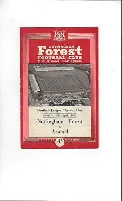 Nottingham Forest v Arsenal 1961/62 Football Programme