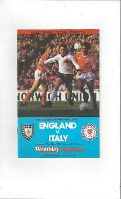 England v Italy Schools International Football Programme 1986