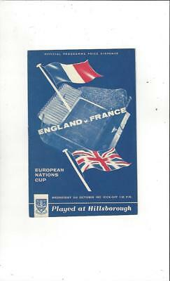 England v France Football Programme 1962 @ Sheffield Wednesday