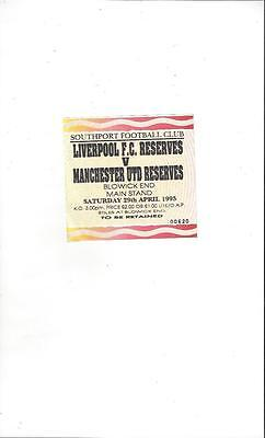 Liverpool Reserves v Manchester United Reserves Match Ticket 1995 @ Southport