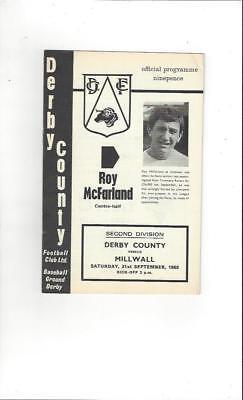 Derby County v Millwall 1968/69 Football Programme