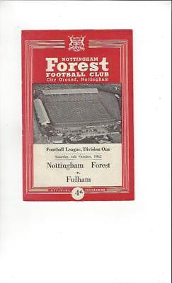 Nottingham Forest v Fulham 1962/63 Football Programme