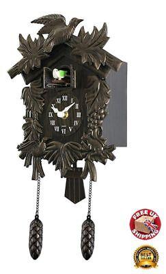 Wall Mount Clock Cuckoo Bird Vintage Home Decor Pendulum Wood Effect Antique