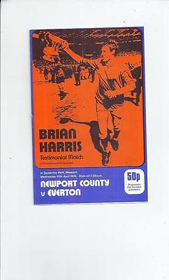Newport County v Everton Brain Harris Testimonial Football Programme 1973/74
