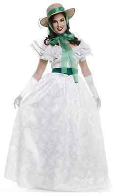 Southern Belle Civil War Scarlett White Fancy Dress Up Halloween Adult Costume - Southern Belle Costume Adult