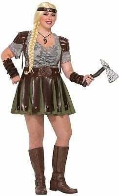 Viking Woman Lady Warrior Princess Fancy Dress Halloween Plus Size Adult - Viking Lady Costume