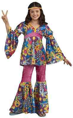 Flower Power 60's Hippie Woodstock Girl Fancy Dress Up Halloween Child - Flower Power Girl Costume