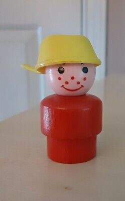 Vintage Fisher Price little people wood red boy - yellow pot/pan head-Bus #192