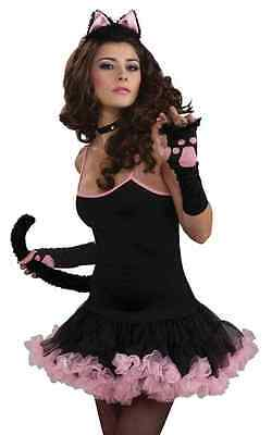 Sophisticat Slip Dress Animal Black Cat Pink Fancy Dress Halloween Adult (Pink Slip Kostüm)