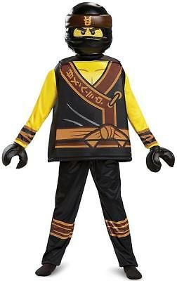Cole Deluxe Lego Ninjago Movie Yellow Ninja Fancy Dress Halloween Child Costume - Ninjago Costume Cole