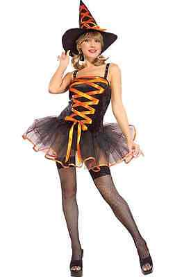 Orange Ballerina Witch Wicked Gothic Fancy Dress Halloween Sexy Adult Costume