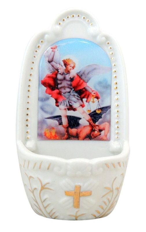 Saint Michael the Archangel Porcelain Holy Water Wall Font, 5 1/4 Inch
