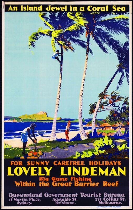 Lovely Lindeman Queensland Australia Vintage Travel Advertisement Art Poster