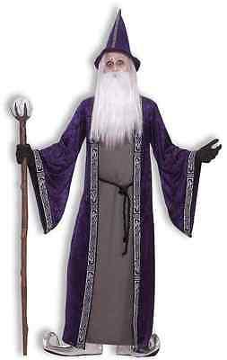 Wizard Merlin Medieval Sorcerer Purple Fancy Dress Up Halloween Adult Costume](Merlin Costumes)