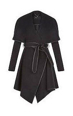 NWT BCBG Cameron Wrapped Trench Women Coat Black M, Style 12158 BM $398.00