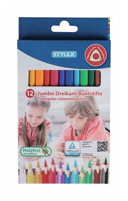 12 dicke Jumbo Dreikant-Buntstifte / 12 verschiedene Farben