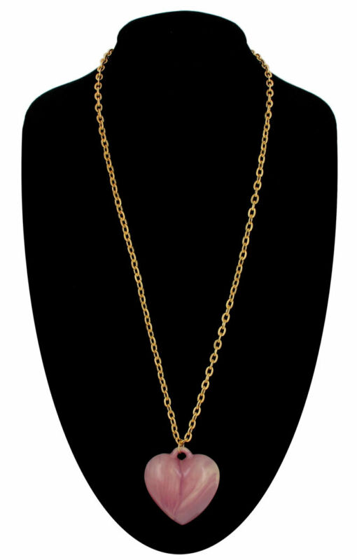 """Vintage Marbled Purple Puffy Heart Pendant Gold Tone Chain Long 36"""""""