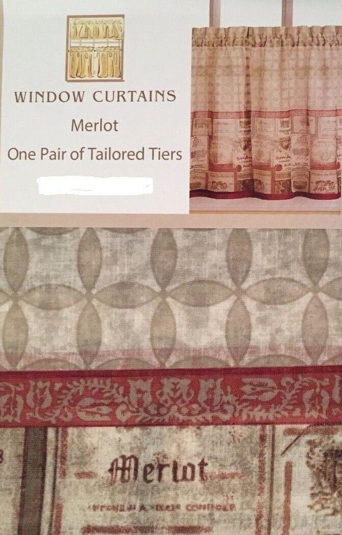 Chf Merlot Wine Tuscan Kitchen Curtain 24 inch Tier Set Wine