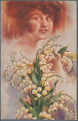 Vintage Postcard Red Haired Girl Portrait Flowers Lilly of the Valley M. Santino