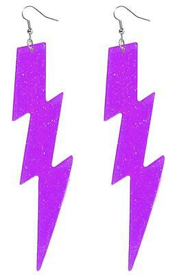 Lightning Bolt Earrings Neon Fancy Dress Halloween Costume Accessory 4 COLORS