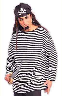 Striped Shirt Pirate Clown Fancy Dress Up Halloween Costume Accessory 2 COLORS