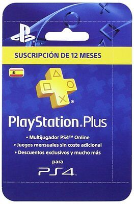 PlayStation Plus Tarjeta 365 Días Sony PS4 PS3 PSN 12 Meses PS+ Suscripción ES