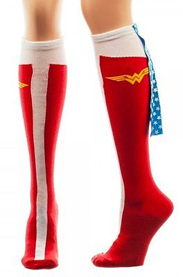 Wonder Woman DC Comics Licensed Caped Boot Knee High Socks with (Wonder Woman Socks Cape)