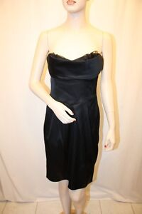NEW-BCBG-MAX-AZRIA-BLACK-Sweetheart-Strapless-Cocktail-Dress-SIZE-6