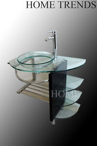 Ebay Bathroom Vanities on 32 Inch Modern Bathroom Glass Bowl Vessel Sink   Wood Vanity Shelfs