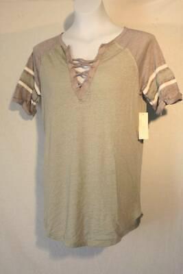 NEW Womens Lace Up Shirt Size Large Top Green Gray Soft Lightweight Summer