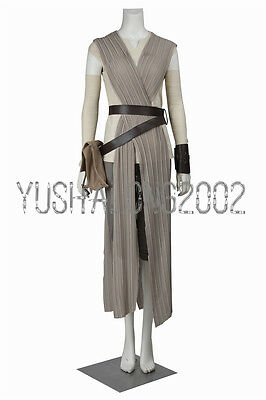 Star Wars 7 The Force Awakens Rey Cosplay Kostüm Damen Halloween Costume neu