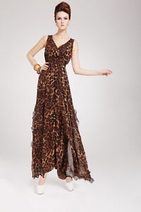 VINTAGE WOMEN SEXY SUMMER LEOPARD CHIFFON LONG MAXI EVENING COCKTAIL PARTY DRESS