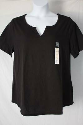 Womens Tee Plus Size 4X Top Ladies Shirt 28w - 30w Relaxed Fit Notch Neck Black - Womens Size 4x