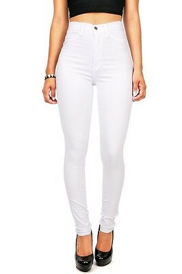 Womens White Black High Waist Rise Skinny Jeans Long Soft Denim Pants Vibrant US