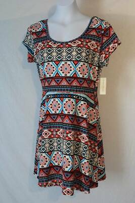 Plus Size Tribal Dress (NEW Womens Short A-Line Dress Plus Size 2X Above Knee Caged Back Soft)