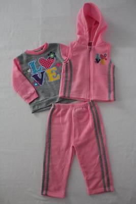 NEW Girls 3 piece Set 12 Month Sweatshirt Hooded Vest Pants Outfit Pink Love Hood Vest Set